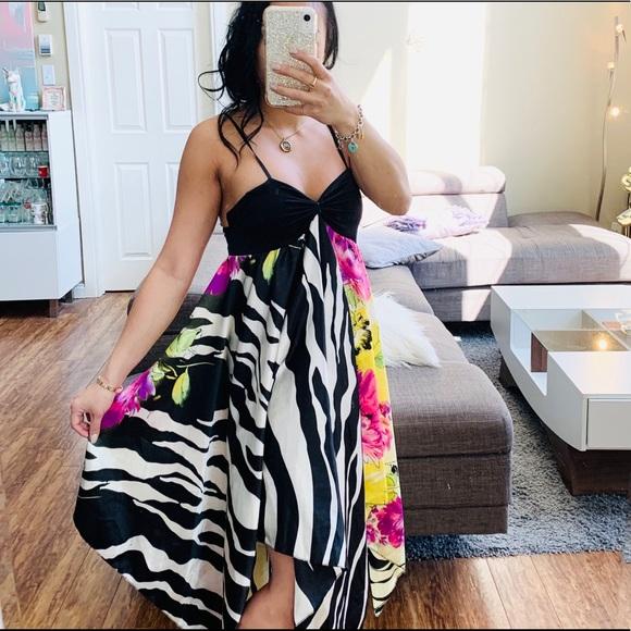👗 ZEBRA AND FLORAL FLOWY BUSTIER DRESS NZ
